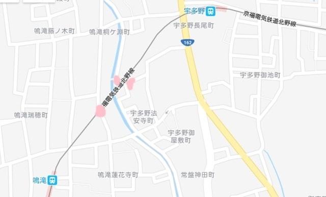嵐電桜のトンネルを撮影するスポットへのアクセス