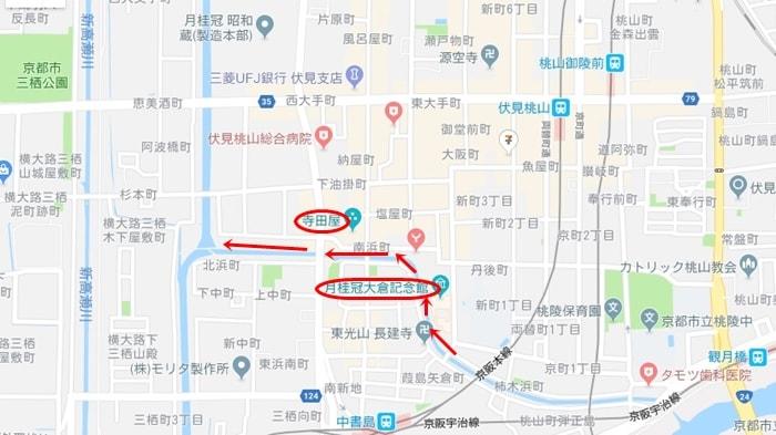 京都ノスタルジック撮影スポット・伏見の地図