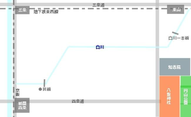 祇園白川へのアクセス・地図