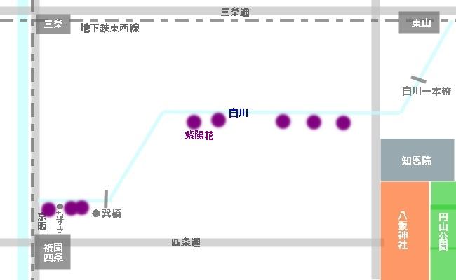 祇園白川紫陽花マップ(白川で紫陽花が咲いているところへのアクセス)