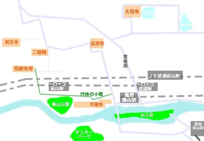 嵐山・竹林の小径へのアクセスマップ(地図)