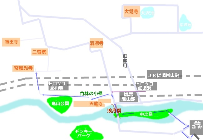 常寂光寺へのアクセスマップ・地図