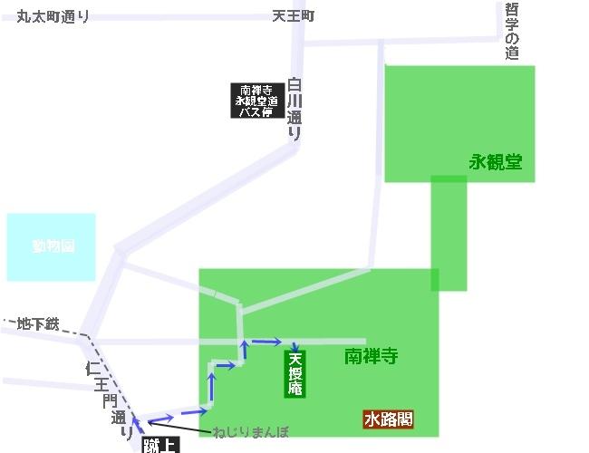 天授庵へのアクセスマップ