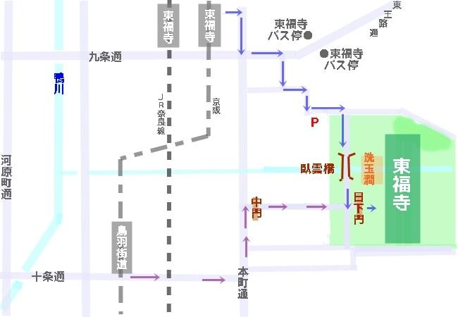 紅葉時の東福寺アクセスマップ・地図
