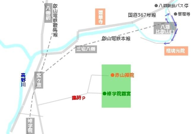 瑠璃光院紅葉時のアクセスマップ・地図