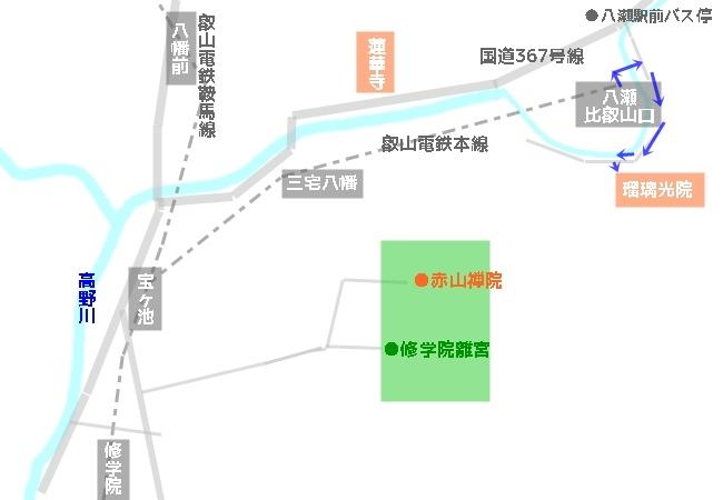 瑠璃光院へのアクセス(紅葉シーズン以外)地図