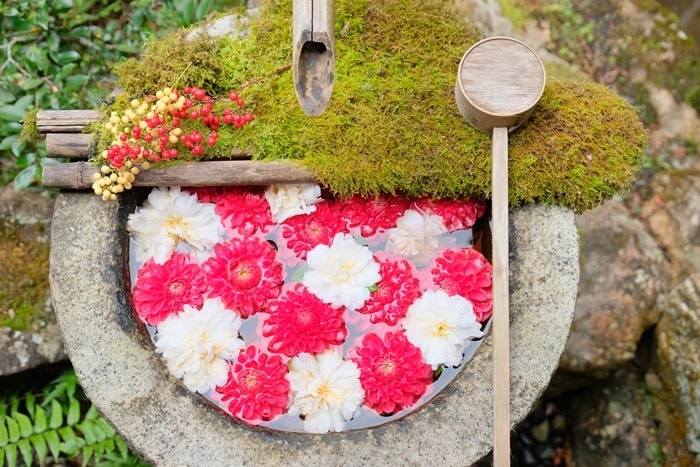 楊谷水寺紅白のお正月花手水