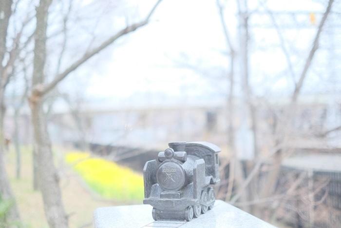 梅小路公園 蒸気機関車オブジェと菜の花の撮影スポット