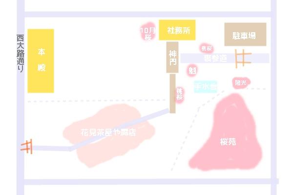 平野神社の境内図 桜マップ