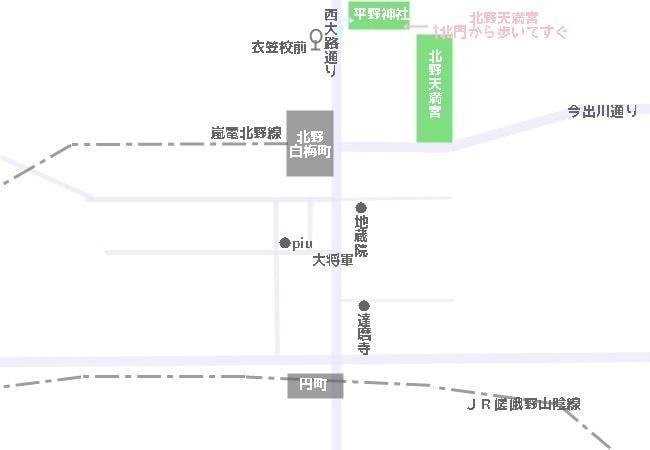 平野神社へのアクセスマップ