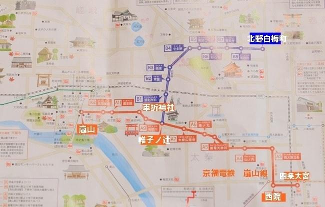車折神社から北野白梅町までの嵐電路線図