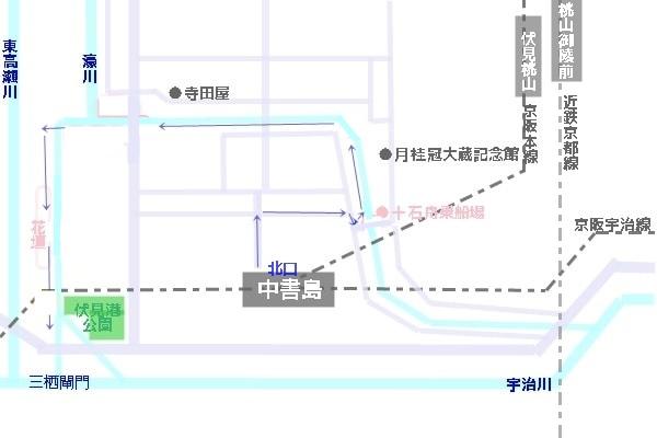 伏見濠川の紫陽花へのアクセスマップ