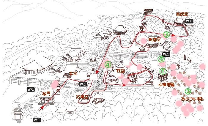 善峯寺境内桜撮影スポットマップ