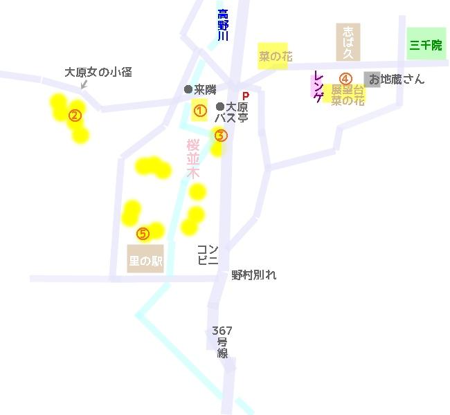 大原で菜の花が咲いている場所マップ