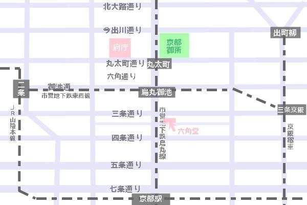 六角堂へのアクセスマップ(桜の時期)