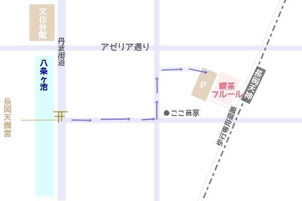 喫茶フルール 駐車場へのアクセスマップ