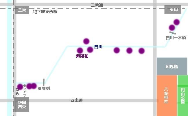 祇園白川紫陽花マップ