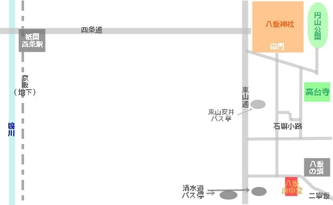 高台寺へのアクセスマップ